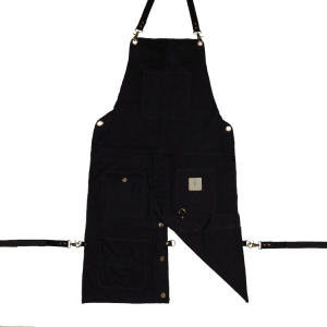 Knife and Flag Black Split-Leg Apron