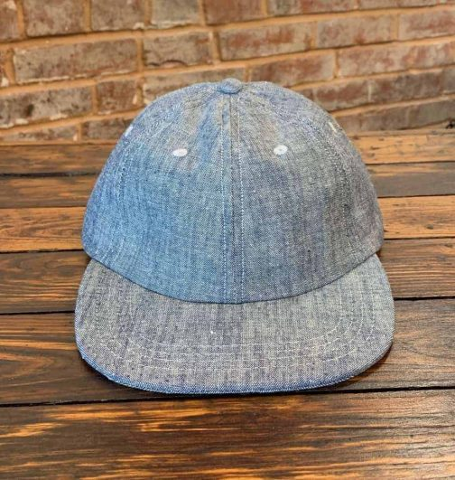 American Trench Chambray Ball Cap. Front View.