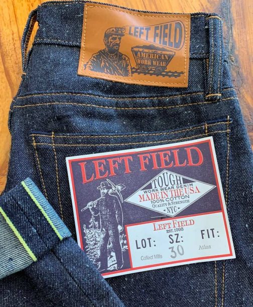 Left Field NYC Atlas 12 oz Collect Mills Banana Selvedge Jeans.