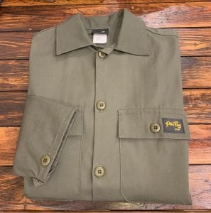 Stan Ray 4 Pocket Fatigue Jacket OD Ripstop. Folded view.