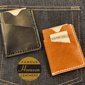 Horween Minimalist Wallet in Black Chromexcel and English Tan Derby.