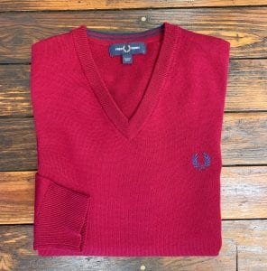 Fred Perry K7600 Dark Red V-Neck Sweater