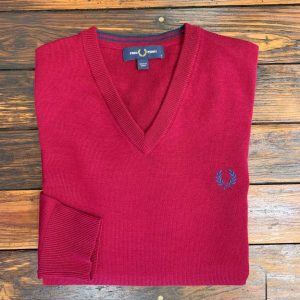 Fred Perry Dark Red V-Neck Sweater