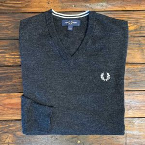 Fred Perry Anthracite V-Neck Sweater