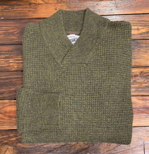 Schott NYC Athletic V-neck Sweater in Moss