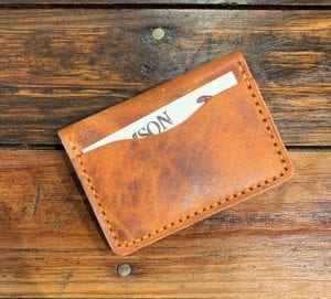 Minimalist Five Card Wallet English Tan. Folded View.