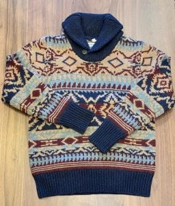 Schott NYC Navajo Shawl Collar Sweater. Front View.