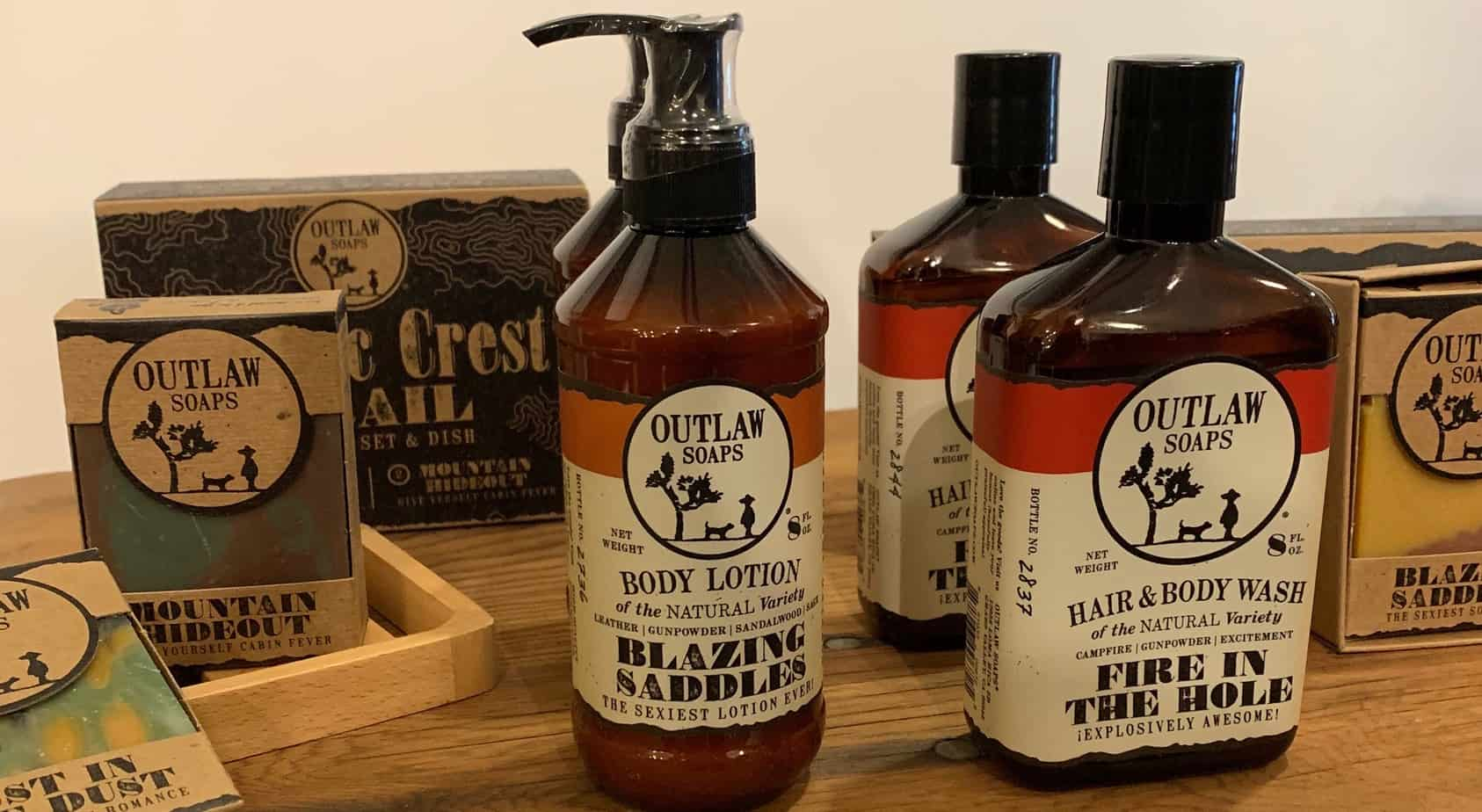 Skincare products by Outlaw Soap Co.