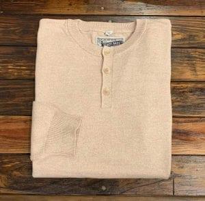 Schott NYC Beige Cotton Henley Sweater