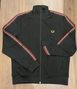Fred Perry J8503 Taped Sleeve Track Jacket. Flat view.