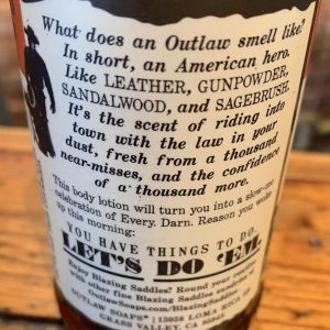 Blazing Saddles Body Lotion Outlaw Soaps