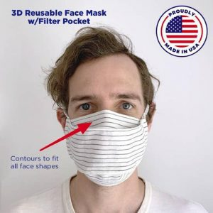 3D Reusable Face Mask With Filter Pocket