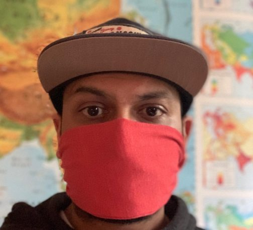 ECO Triblend Face Mask Royal Apparel. Red worn view.