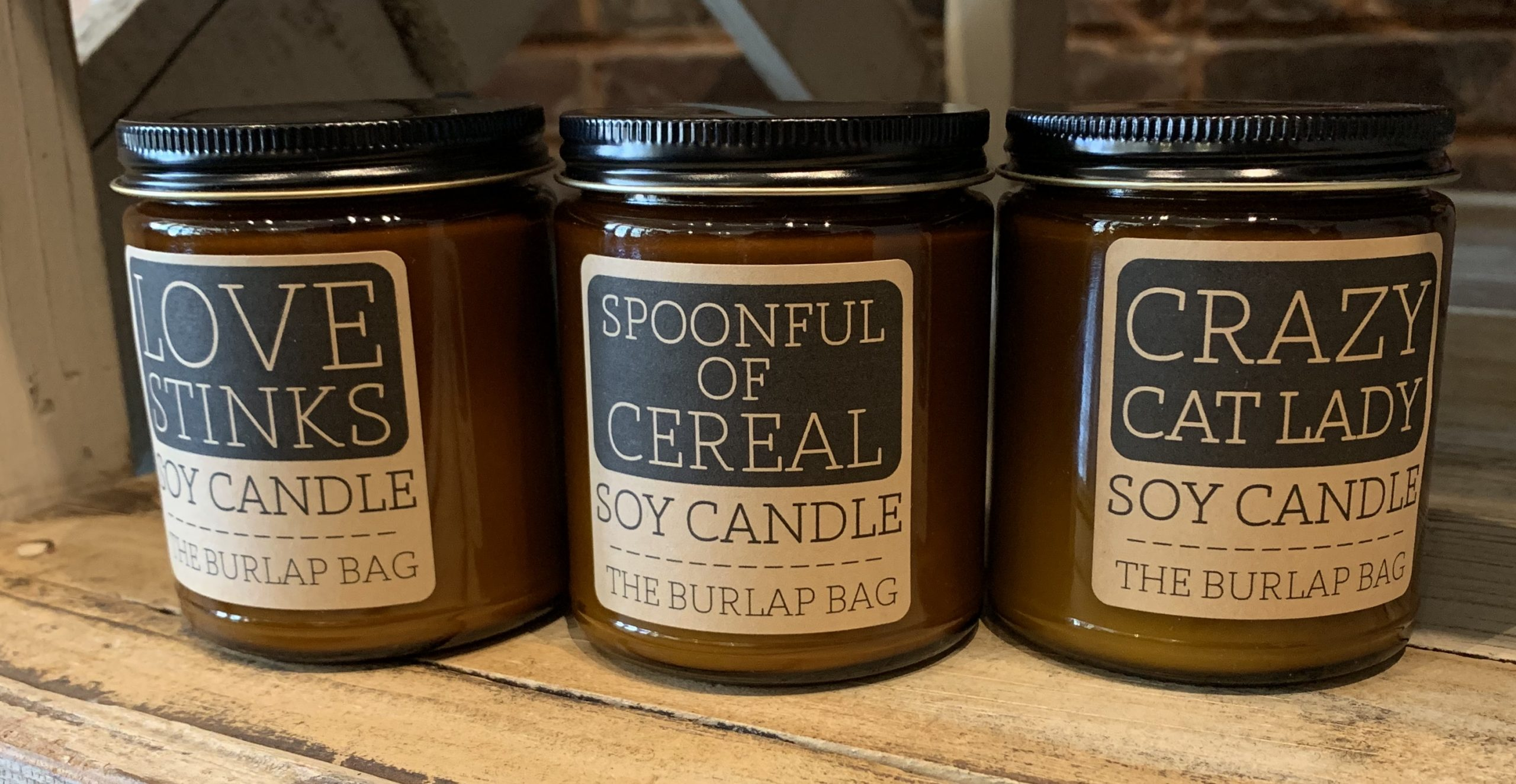 The Burlap Bag Assorted Candles.