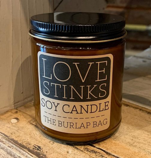 The Burlap Bag Soy Candles. Love Stinks.