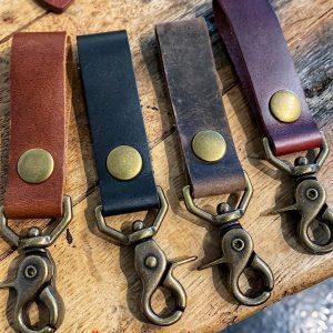 Leather Swivel Snap Key Fob