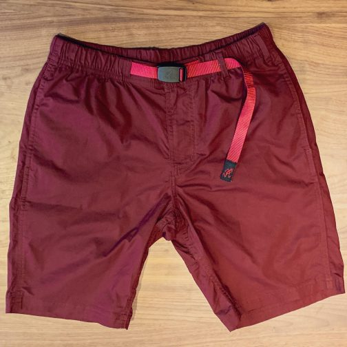 Gramicci weather NN shorts in Wine. Front view.