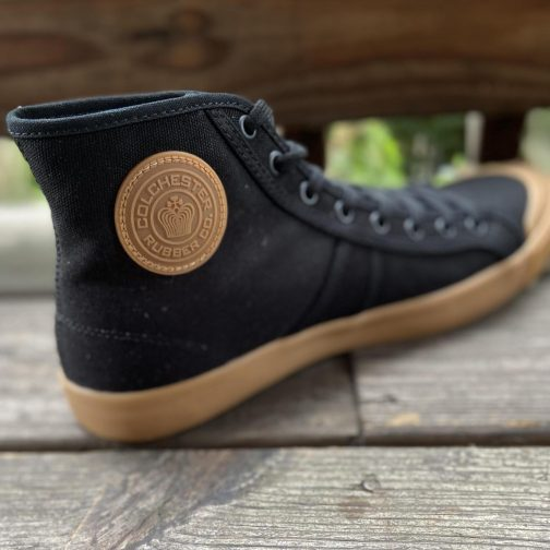 Colchester Rubber Co. National Treasure Black Gum High Top Sneakers. Inner-left view.