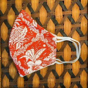 Hawaiian Print Face Mask Red