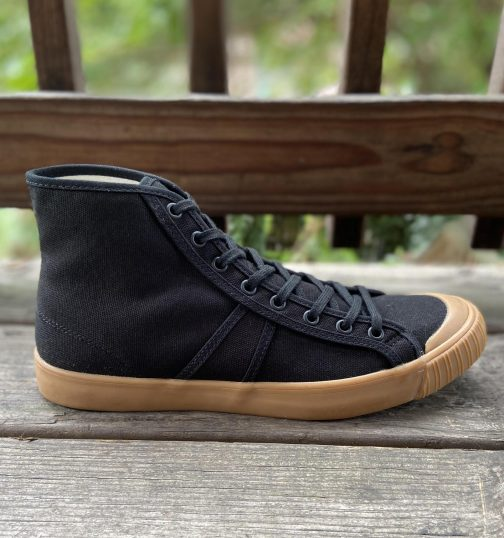 Colchester Rubber Co. National Treasure Black Gum High Top Sneakers. Outer-right view.