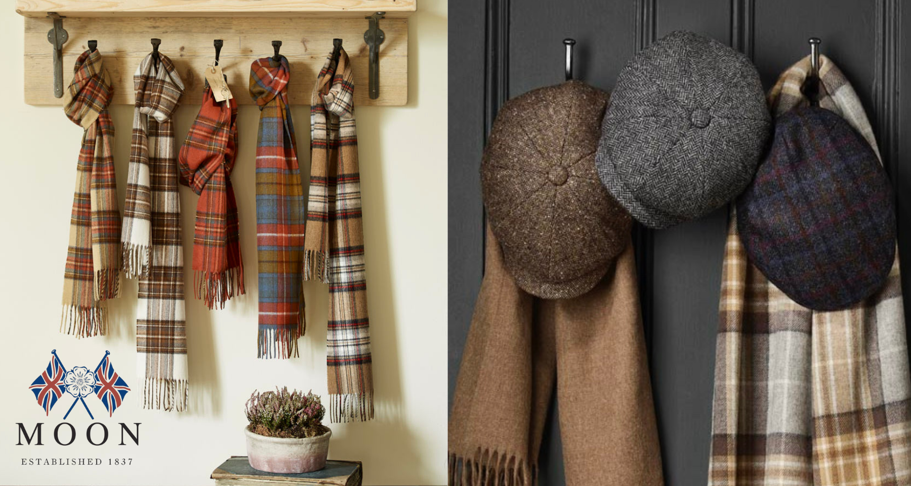 Abraham Moon & Sons luxury wool hats and scarves.