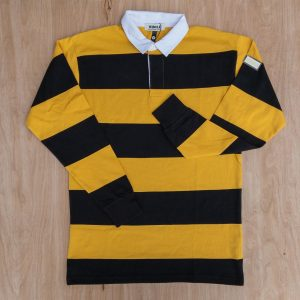 Whole Striped Rugby Shirt Black & Mustard