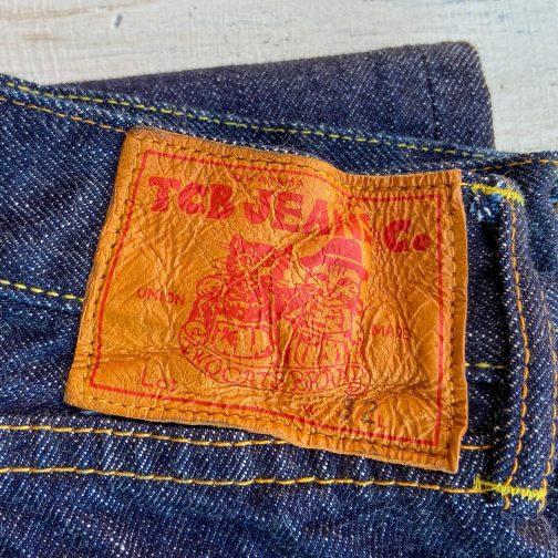 TCB Jeans 50s Slim Selvedge Denim 13.5 oz. Leather patch view.