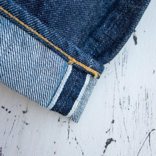 TCB Jeans 50s Slim Selvedge Denim 13.5 oz. Selvedge ID view.
