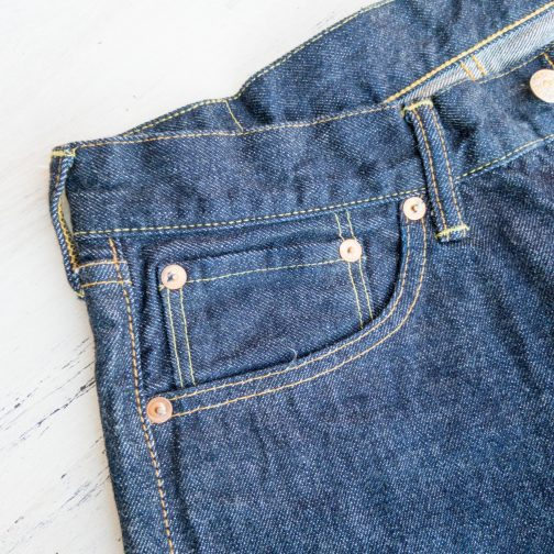 TCB Jeans 50s Slim Selvedge Denim 13.5 oz.. Coin pocket view.