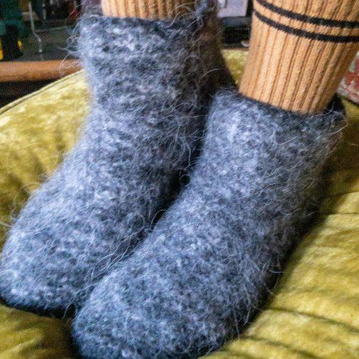 Kosy Sheep Nordic Attitude Slipper Socks. Women's Worn View.