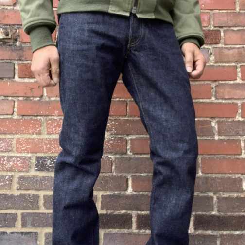 TCB Jeans 50s Slim Selvedge Denim 13.5 oz. Front worn view.