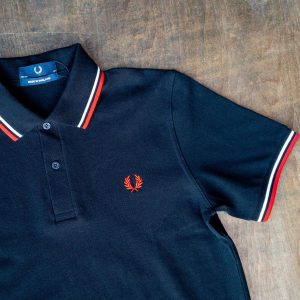Fred Perry Shirt M12 Black White Red