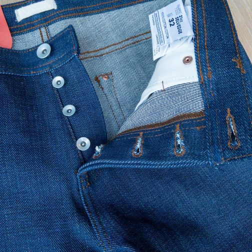 Unbranded UB121 skinny fit 21 oz. heavyweight indigo selvedge jeans. Button fly view.