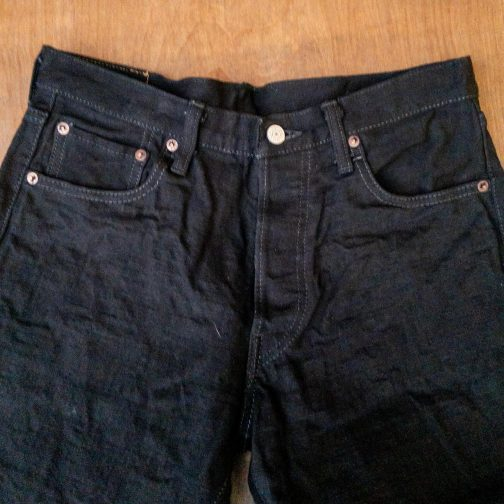 Burgus Plus 770-99 Standard Black Selvedge Jeans. Front top block view.