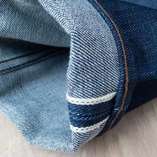 Unbranded UB121 skinny fit 21 oz. heavyweight indigo selvedge jeans. Selvedge ID view.