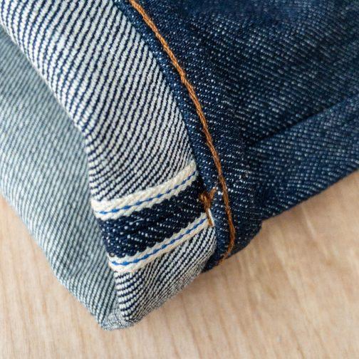 Unbranded UB101 skinny fit 14.5 oz. indigo selvedge jeans. Selvedge ID view.