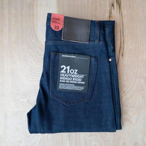 Unbranded UB121 skinny fit 21 oz. heavyweight indigo selvedge jeans