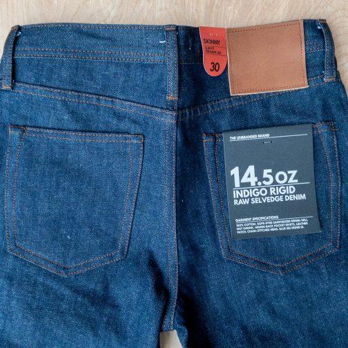 Unbranded UB101 skinny fit 14.5 oz. indigo selvedge jeans. Back view.