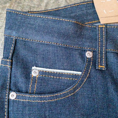 Naked And Famous Denim Super Guy Left Hand Twill selvedge coin pocket view.