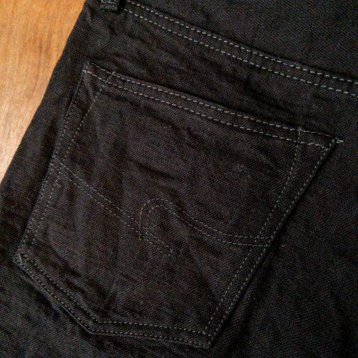 Burgus Plus 770-99 Standard Black Selvedge Jeans. Back pocket view.