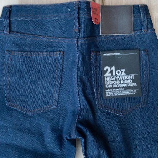 Unbranded UB121 skinny fit 21 oz. heavyweight indigo selvedge jeans. Back view.