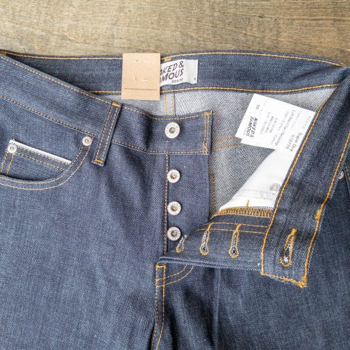 Naked And Famous Denim Super Guy Left Hand Twill back top block view.