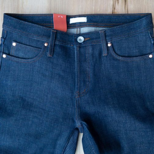 Unbranded UB121 skinny fit 21 oz. heavyweight indigo selvedge jeans. Front view.
