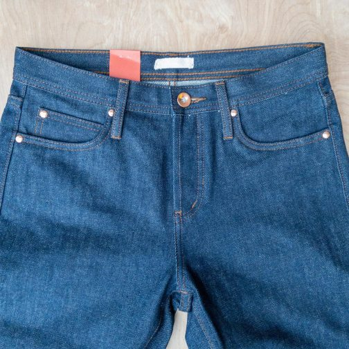 Unbranded UB101 skinny fit 14.5 oz. indigo selvedge jeans. Front view.