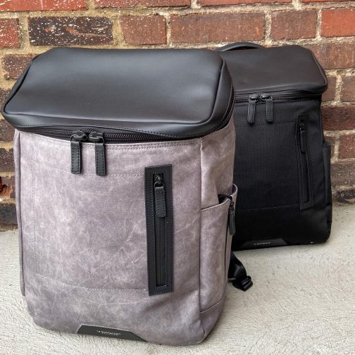 Venque Amsterdam 2.0 Backpack in Matte Grey and Nylon Black.