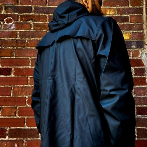 Rains Black Jacket 1201. Back view.