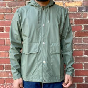 Rains Olive Short Hooded Jacket