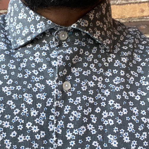 Panareha Paros Floral Shirt Grey. Worn Collar View.