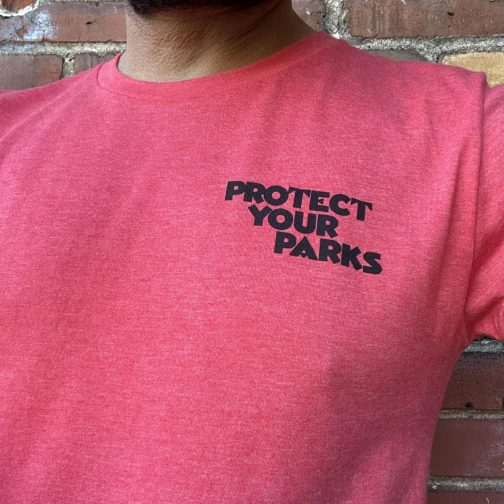 Protect Your Parks Tee By Good & Well Supply. Worn Front View.