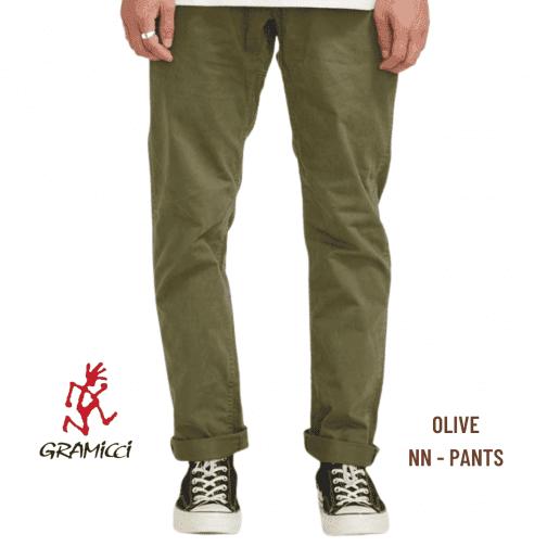 Gramicci Olive NN Pants. Worn view.